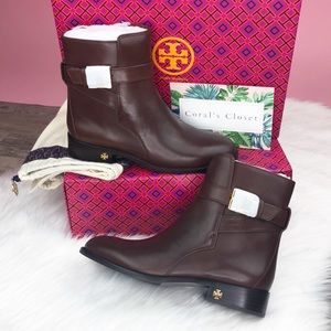 Tory Burch Shoes - {Tory Burch} Calfskin Leather Brooke Ankle Booties